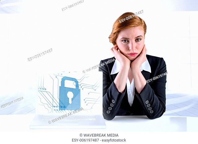 Composite image of redhead businesswoman looking unhappy