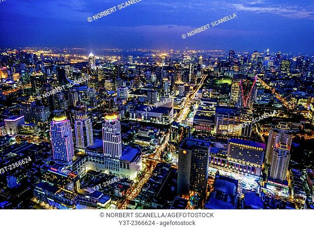 Asia. Thailande, Bangkok. Aerial view of the city by night