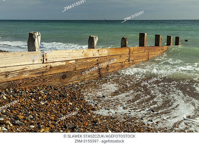 Groyne (sea defence) on Worthing beach, West Sussex, England