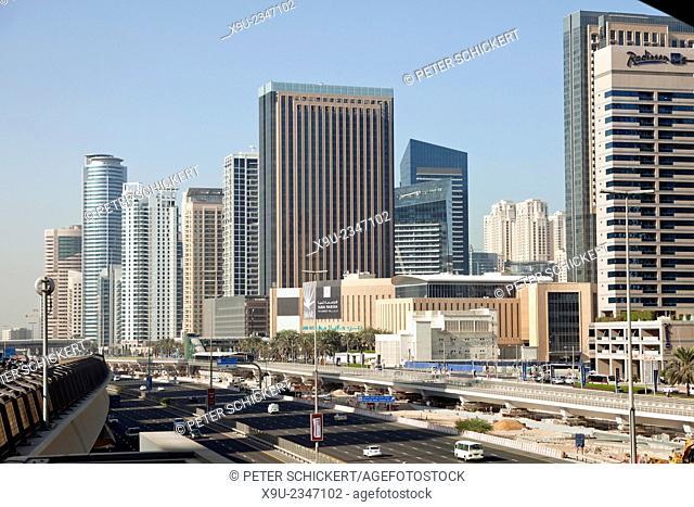 Sheikh Zayed Road and skyscraper in Dubai, United Arab Emirates, Asia
