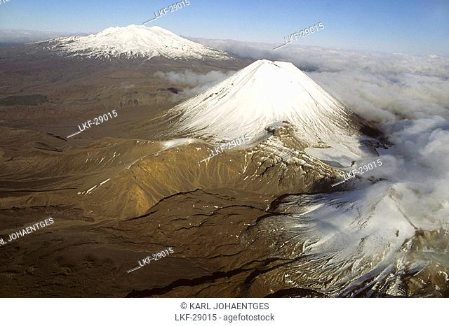 Snow capped volcanic landscape, Tongariro National Park, New Zealand