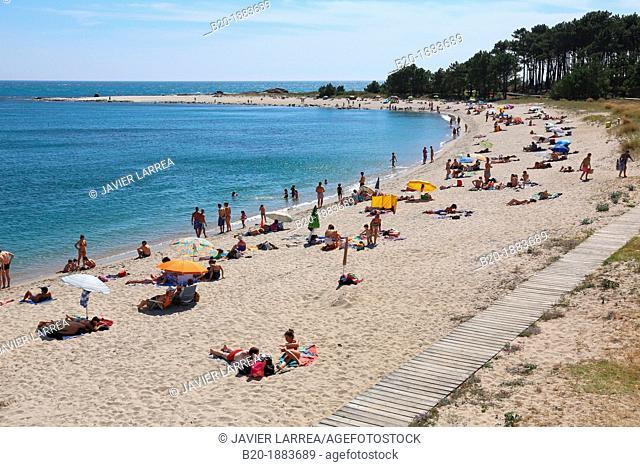 A Praia beach, Minho River estuary, Spain and Portugal border, A Guarda, Pontevedra, Galicia, Spain