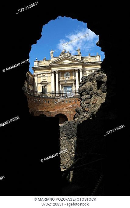 San Biagio church and Roman amphitheater, Catania, Sicily, Italy