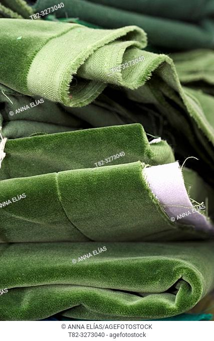Green velvet fabrics, cofrade handicrafts, Holy Week, Andalusia, Spain