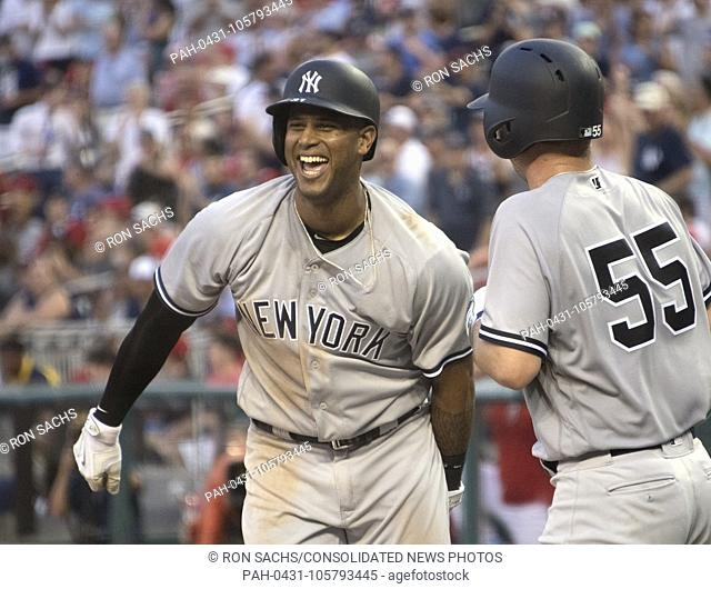 New York Yankees center fielder Aaron Hicks (31), left, and starting pitcher Sonny Gray (55), right, celebrate Hicks' fifth inning two run home run against the...