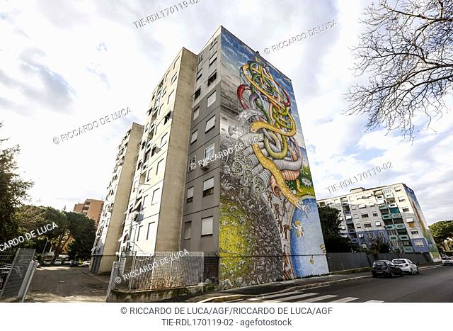 The murale titled ' Capita' (Happen) by Blue dedicated to different forms of inequality in Ponte Mammolo district in Rome ,ITALY-17-01-2019