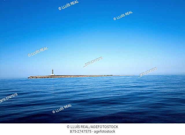 Island with lighthouse and blue sky. Minorca. Mediterranean Sea. Balearic Islands, Spain