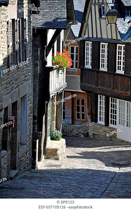 A medieval half-timbered buildings in the Rue de Jerzual, in the ancient french town of Dinan in Brittany