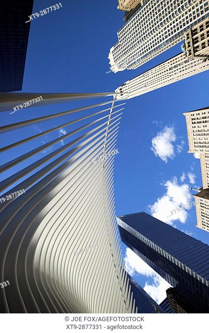 World Trade Center transportation hub and Westfield World Trade Center shopping mall known as the Oculus new york city usa