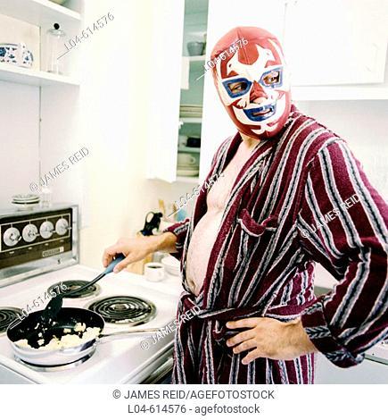 Wrestler in kitchen
