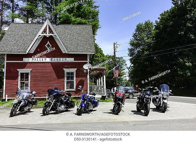 Sharon, Connecticut, USA Motorcycles outside the Valley Tavern, a popular one house bar
