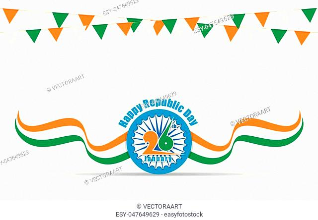 india flag with ashoka chakra, happy indian republic day design