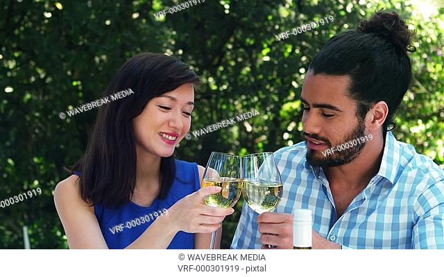 Smiling romantic couple toasting wine glasses