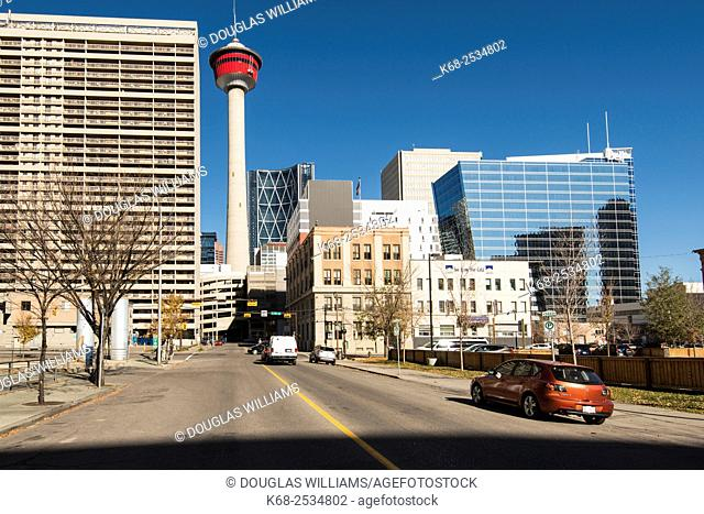The Calgary Tower and office buildings in downtown Calgary, Alberta, Canada