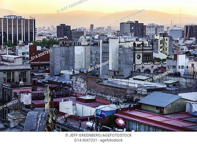 Mexico, Mexico City, Ciudad de, Federal District, Distrito, DF, D.F., CDMX, Mexican, Hispanic, Centro Historico Historic Center Centre, city skyline, rooftops