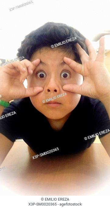 Funny face of a little boy