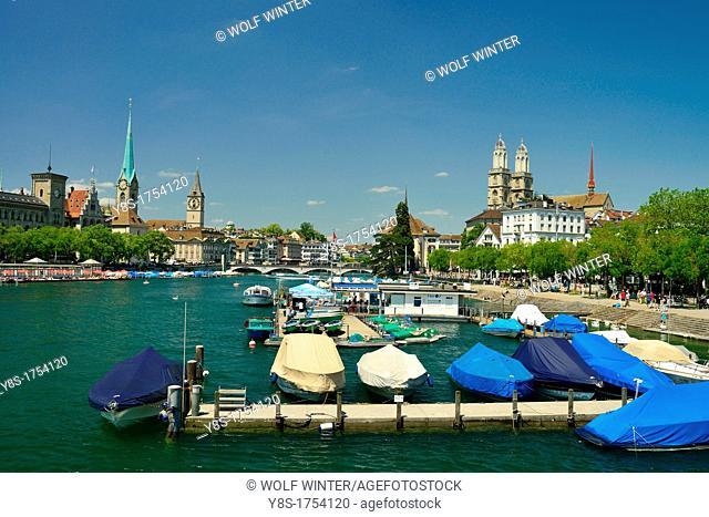 Zurich skyline, river Limmat, Switzerland