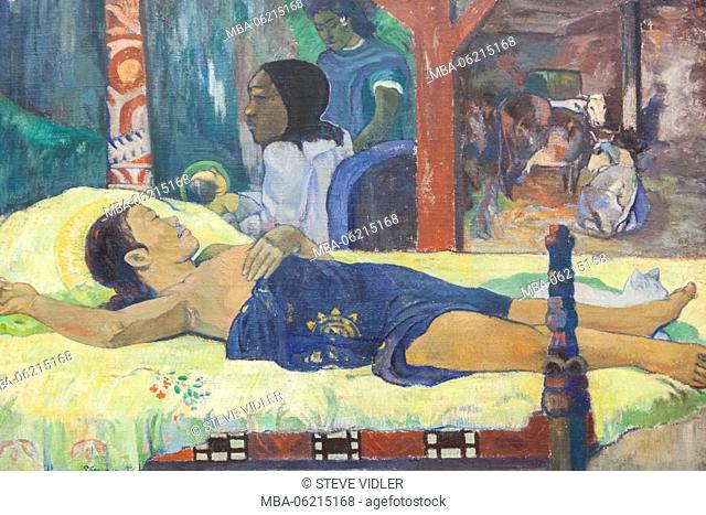 Germany, Bavaria, Munich, The New Pinakothek Museum (Neue Pinakothek), Painting titled The Birth-Te manari no atua (Die Geburt-Te tamari no atua) by Paul...