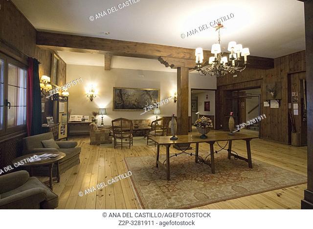 ESPIERBA HUESCA ARAGON SPAIN ON MARCH 17, 2019: Bielsa parador state run hotel in Pineta valley with glaciar cirque in Espierba Huesca Aragon Spain