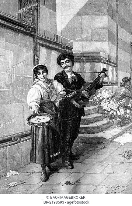 Italian street singers, historical wood engraving, about 1897