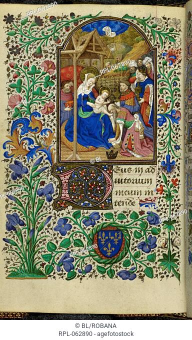 Adoration of the Magi Whole folio Opening of the Hours of Sext. The Virgin and Child seated under the stable roof. Joseph stands behind her