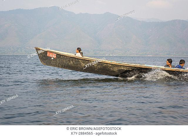 Travelling in a motorboat on Inle Lake, Myanmar