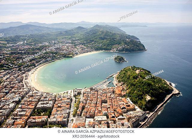 Aerial view of Concha Bay, Donostia - San Sebastian, Basque Country