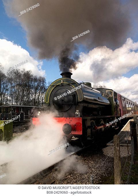 vintage steam locomotive Lord Phil at the Rowsley station, Peak Rail, Derbyshire, UK