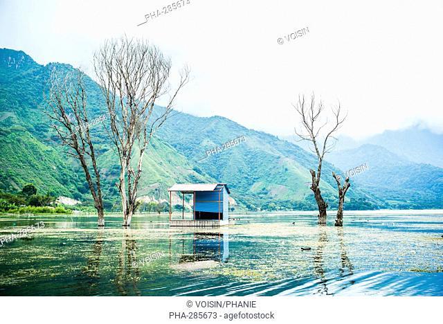 Damage caused by rising water levels in Lake Atitlan, Guatemala