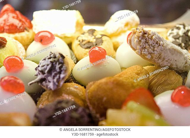 Little pastries displayed for sale