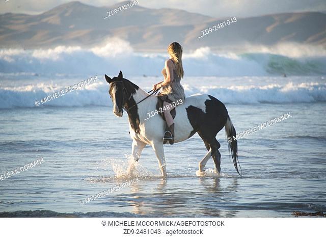 Horsewoman on a romantic beach ride