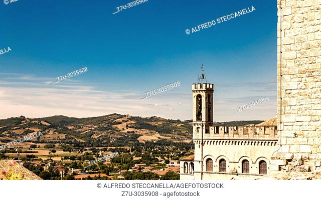 Gubbio (Italy): View of the ducal palace and view of the Italian countryside