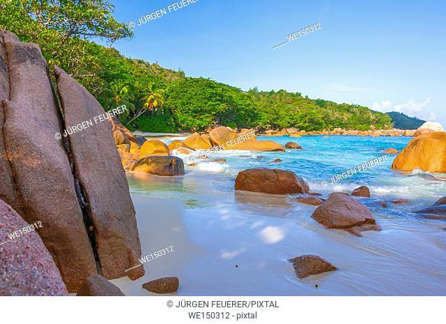 Beach of the Seychelles, Island Praslin, Beach Anse Lazio