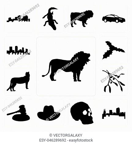 8a3b74c8f52a6 Set Of 13 simple editable icons such as lion outline images on white  background