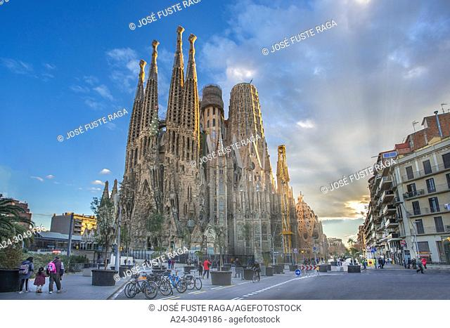Spain, Catalunya, Barcelona City, Sagrada Familia Temple, Gaudi,