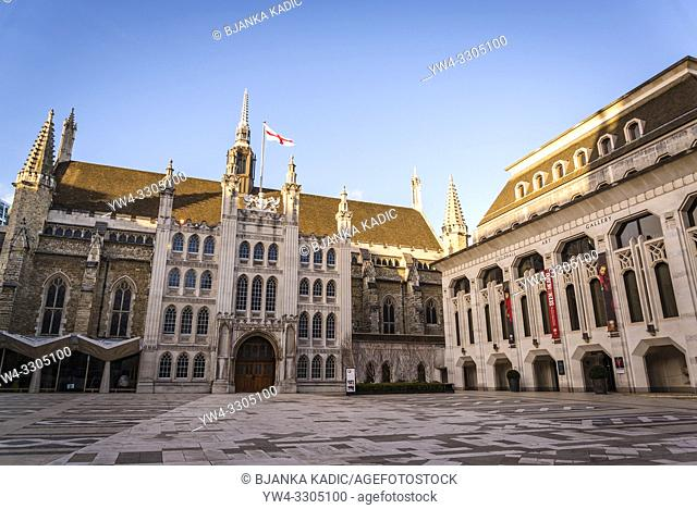 Guildhall and the Guildhall Art Gallery, City of London, England, UK