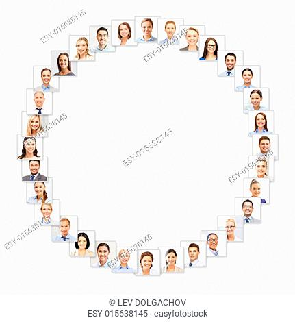 success concept - many business people portraits in circle