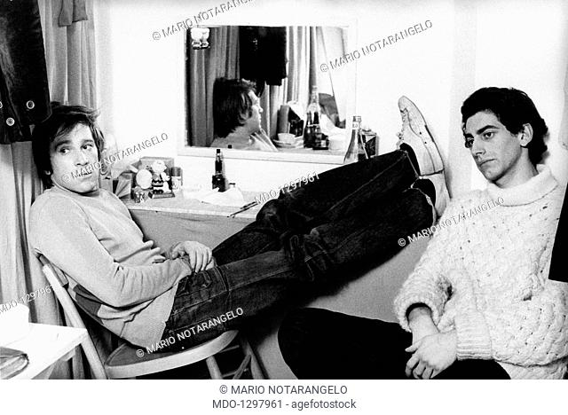 Enzo Cerusico and Daniele Formica in the dressing room. Italian actors Enzo Cerusico and Daniele Formica are resting in a dressing room during a break from the...