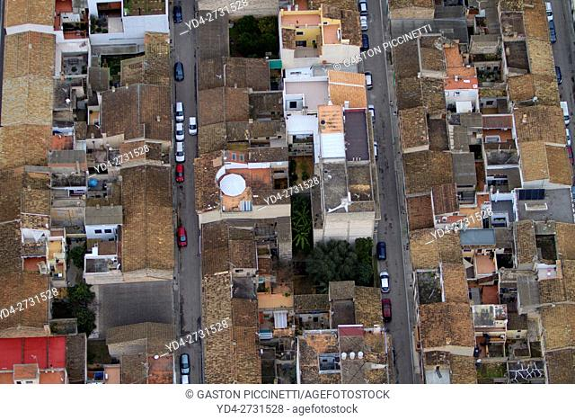 Aerial view of houses in a village, Balearic island, Spain