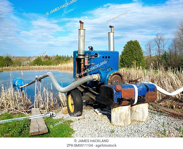 A water pumping machine found at a golf course by a lake. Southern Ontario, Canada