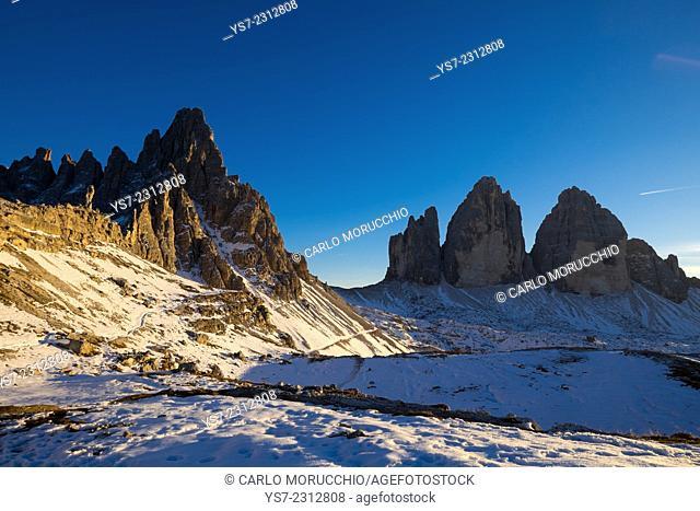 Tre Cime di Lavaredo and Monte Paterno, Auronzo, Belluno, Italy, Europe