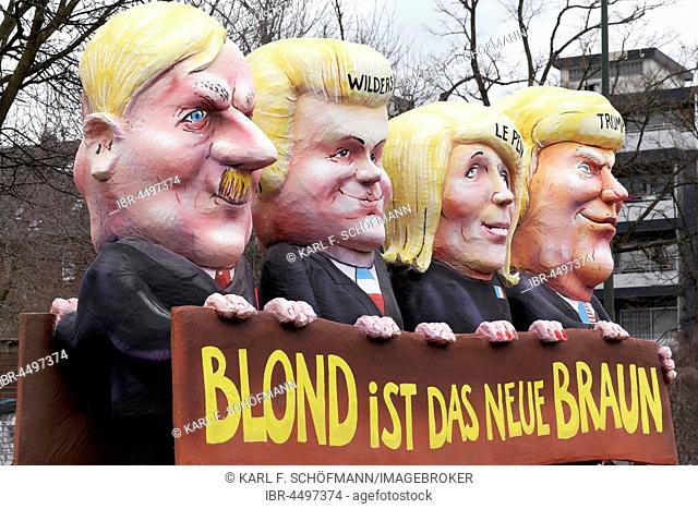 US President Donald Trump, Marine Le Pen, Geert Wilders, Adolf Hitler, paper mache figures, political caricature, motto cart Carnival Monday procession 2017...