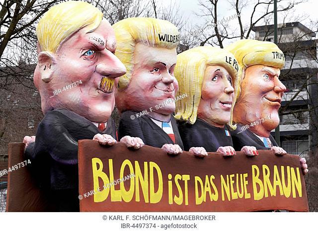 US President Donald Trump, Marine Le Pen, Geert Wilders, Adolf Hitler, paper mache figures, political caricature, motto cart Carnival Monday procession 2017...