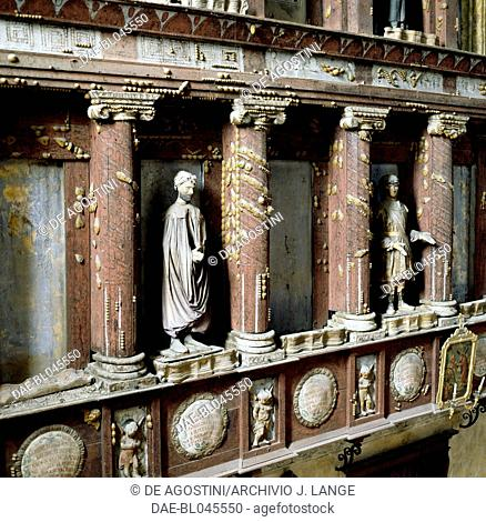 Metopes with papier-mache figures in the Sanctuary of St Mary of Grace, Curtatone, Mantua. Italy, 13th century