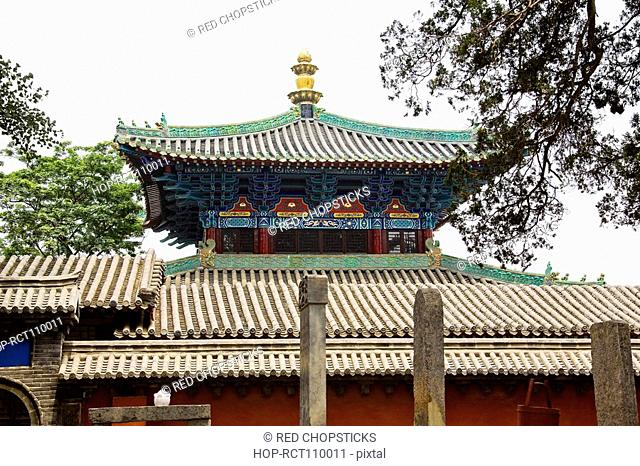 Low angle view of a temple, Shaolin Monastery, Mt Song, Henan Province, China