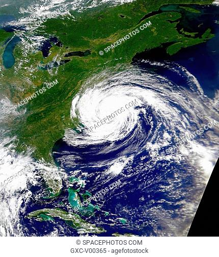 This is a recent satellite view of Tropical Storm Dennis as it moves up the eastern United States coast