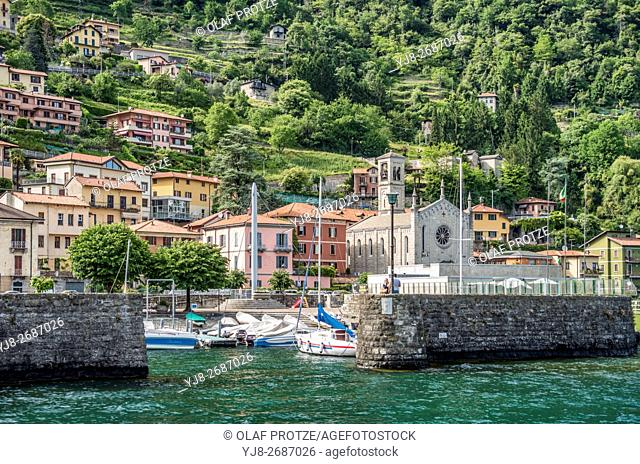 Waterfront of the village Argegno at Lake Como seen from the lakeside, Lombardy, Italy