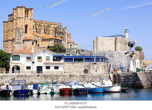Panoramic view of the old part of the Castro Urdiales fishing village, in Spain