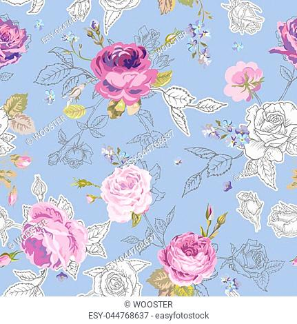 Floral Seamless Pattern with Roses in Sketched Outline Style. Flowers Unfinished Hand Drawn Background for Fabric, Print, Wrapping Paper, Decor