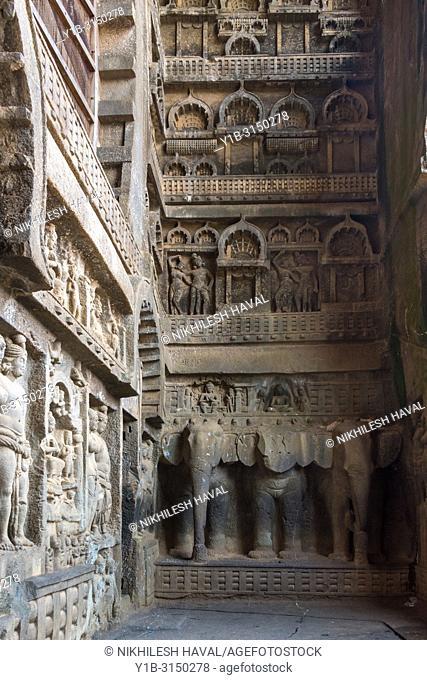 Carving at entrance to Chaitya at Karla, Maharashtra, India